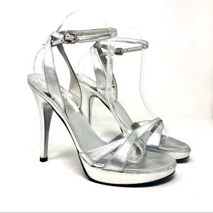 Stuart Weitzman Silver Platform Heeled Sandals 8.5